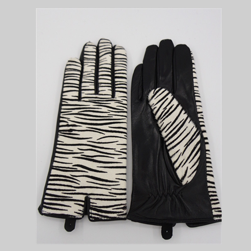 High quality luxury calf hair zebra print ladies fashion leather gloves