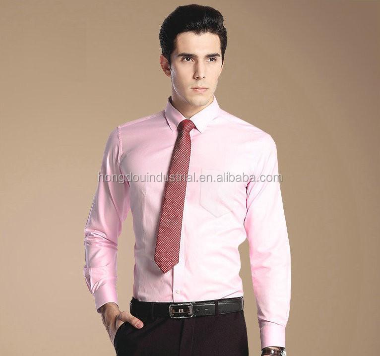 Non Iron Men's Shirt Pink Color Shirt Dress Shirt - Buy Easy Care ...