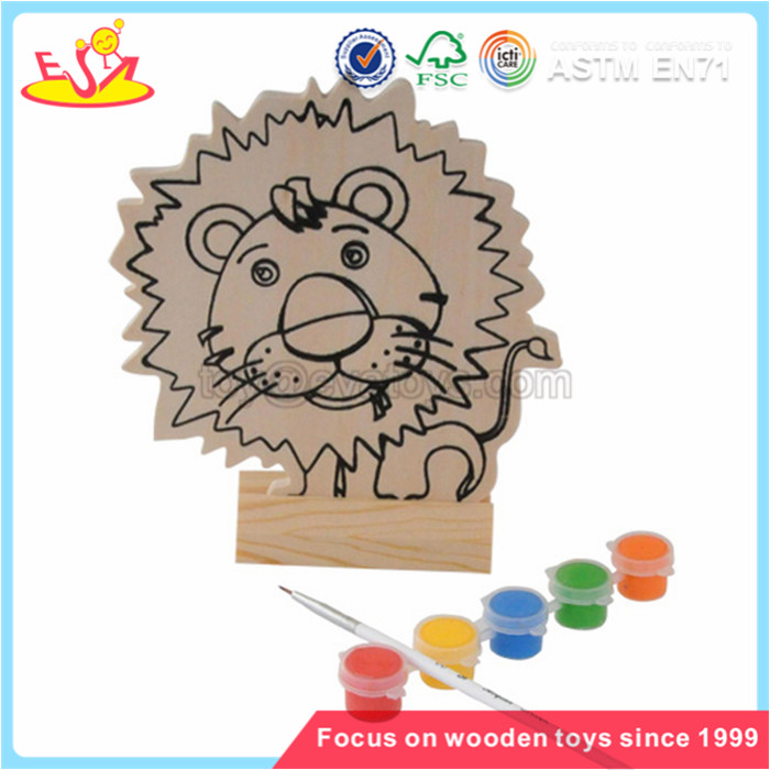 Wholesale hottest sale lovely lion pattern wooden watercolor painting toy for children W03A051