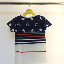The boy short sleeve T-shirt Children's clothing five-pointed star printing washing grinding mao cuhk children's short sleeves