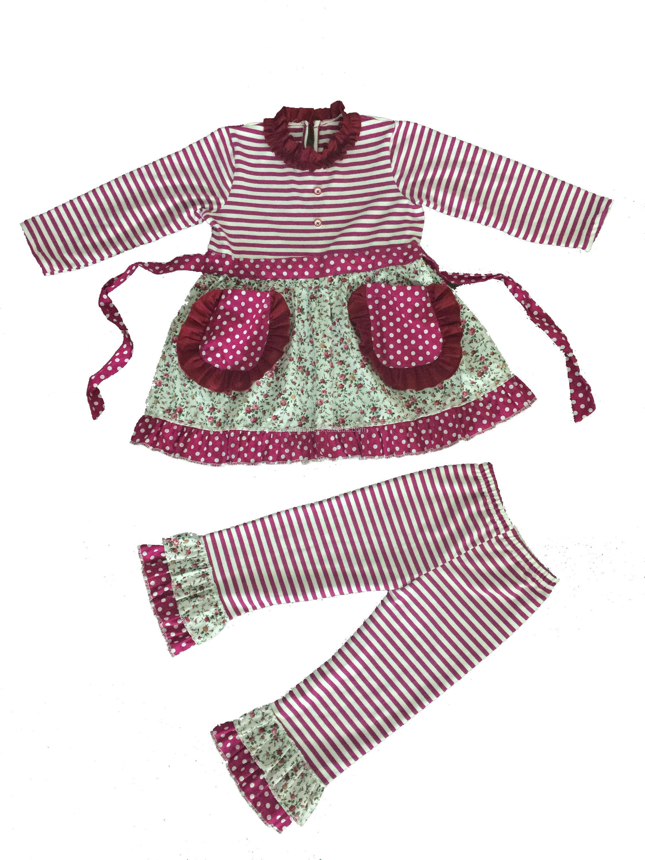 Mustard pie remake child knit cotton clothing sets for wholesale