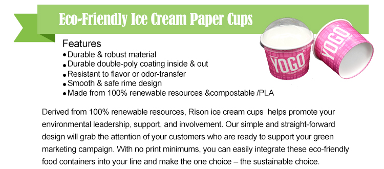 12 oz ice cream paper cup with plastic lid