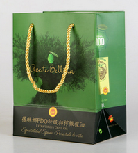 Eco-friendly paperbag for olive oil, green cover cutomized logo