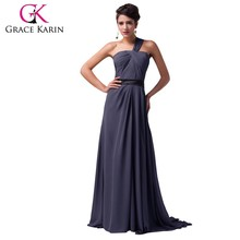 Grace Karin Newest Sexy One Shoulder Cheap Long Mermaid Chiffon Grey Color Evening Dress CL007547-1