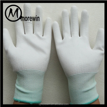 Morewin gloves wholesale 13N Palm Pu coating working gloves Antistatic white gloves