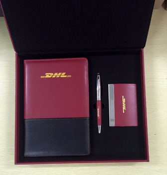 Promotion classical leather business office stationery men gift sets