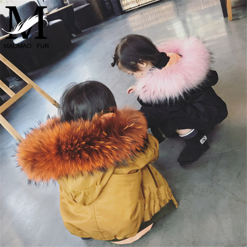 2017 Fashionable Children Winter Real Rabbit Fur Lined Flight Suit Parka Jacket Kids Parka Real Fur