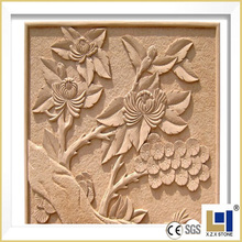 Natural stone flower picture relief sculpture carving for outdoor wall decoration
