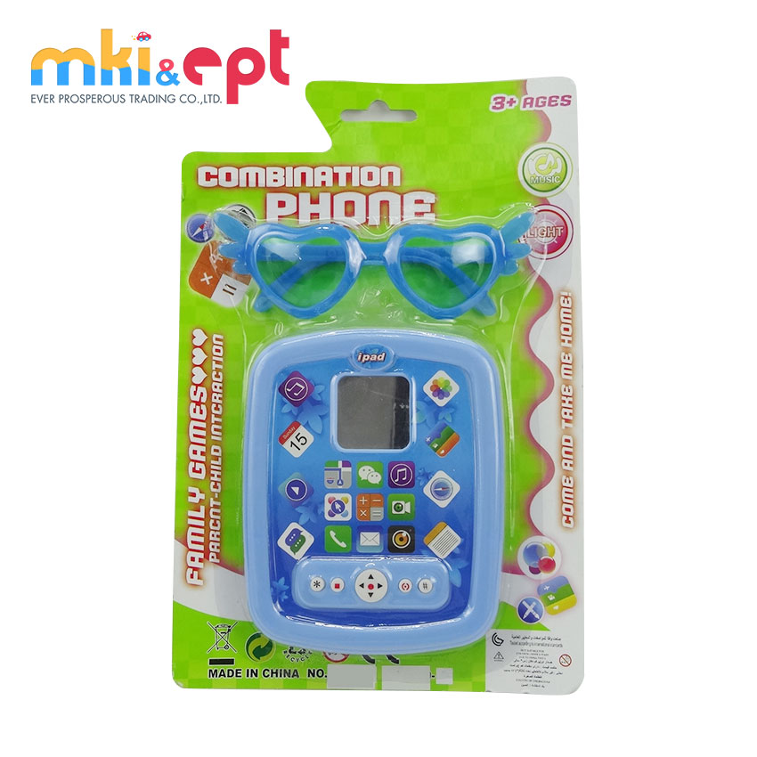 Promotional plastic toys for kids baby ipad learning with light and music