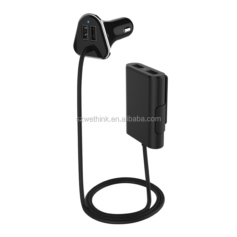 Private Design 4 Ports USB 9.6A <strong>Passenger</strong> Car Charger 12V with 1.8m Cable for All Devices