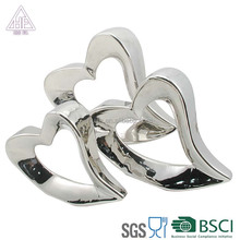 silver white titanium Ceramic decoration husband and wife wedding marriage loving heart decoration items