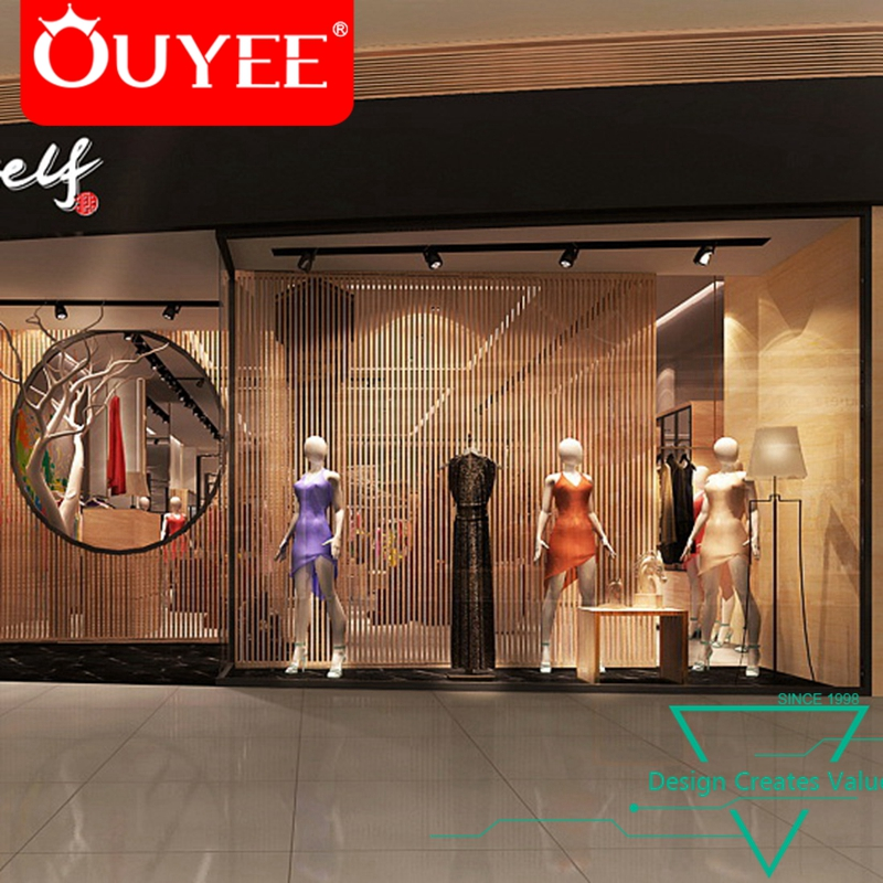 Boutique Shop Fittings Vitrine Garment Ladies Decoration Shop Cool Boutique Shop Design Decoration