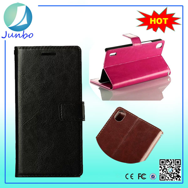 Fancy leather wallet waterproof case for huawei ascend p7