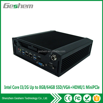 New core i3 fanless industrial mini pc with 2 Lan 6COM intel i3 processor 4G 64GB mini pc x86