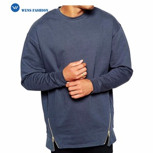 2018 Custom Casual Men 100% Cotton Oversize Crew neck Sweatshirt Side-Zipper