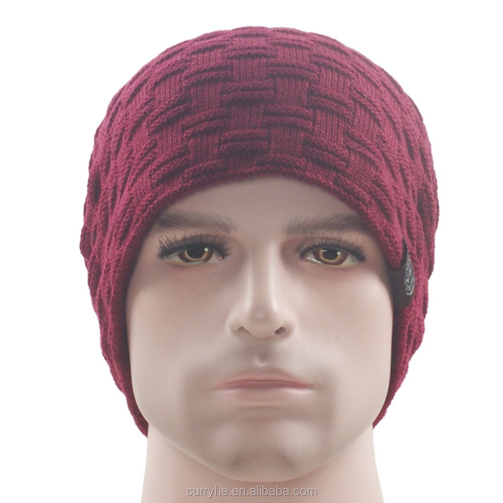 2017 Hot selling OEM Service Customize popular Blank Flexfit Pure Cotton Red knitted cap and hat