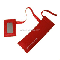 Red satin mini cosmetic bag with mirror