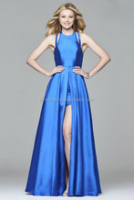 Blue sleeveless backless elegant satin evening dress short formal dress for young lady