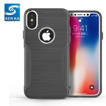 China Product Metal Button Simple Style Tough Matte TPU Case for iPhone X