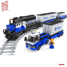 Promotional plastic construction building bricks locomotive mini model train toys for kids