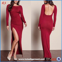 Fashion sexy nighty dress picture women without dress for sexy pictures with long sleeve ruched high slit maxi dress