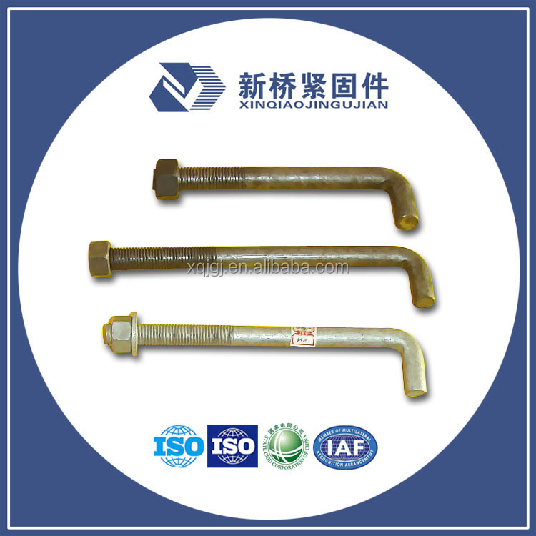 Right Angle Bolt : L bar type anchor bolt right angle with nuts