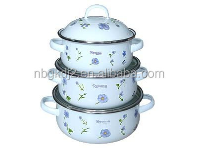 Wholesale Carbon steel enamelware strait pot with coating high quality glass lid stainless steel knob