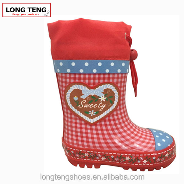 2015 cute girls natural rubber material top quality rain boots