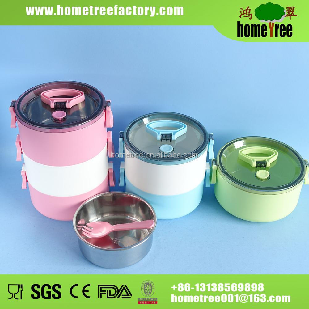 1 layer Stackable 304 Stainless Steel Lunch Box With Spoon