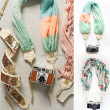 2017 Fashion Handmade Comfortable Vintage Scarf Camera Strap For Promotion