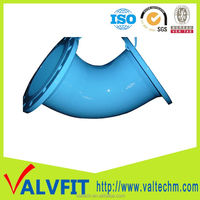 Double Flanged Ductile Iron Waterworks Pipelines Flange Pipe Fittings 45deg Equal Elbow Bend
