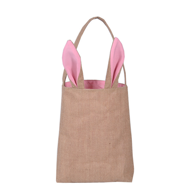 Easter Bag Jute Burlap Material Bunny Ear bag For Child Gifts Packing