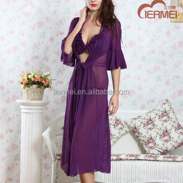 Sexy hot bikini sets horn sleeve long robe ladies 3 piece night suits