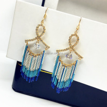 Multicolor Tassel Chains Earrings Bow Tie Shape Tassel Earrings Clear Zircon Tassel Earrings