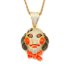 Newest personality creative men's hiphop clown mask with full diamond pendant jewelry chain <strong>necklace</strong>
