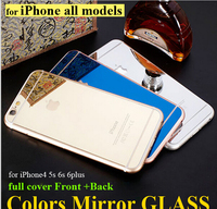 Colorful Tempered glass mirror screen protector for iphone6 Plating mirror screen cover