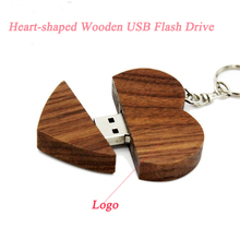Free logo Wooden Heart shape usb flash drive 8g 16g for promotional gift