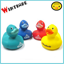 Colorful baby bath duck custom logo print yellow pvc water toy duck