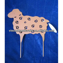 Garden decorative pink metal sheep stick