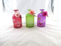 Customed Elegant Decorative Colored More color Glass Vase with flower and decal