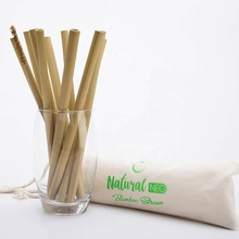 100 % Natural Organic Reusable Eco friendly Bamboo Drinking Reusable Straws with cleaning brush