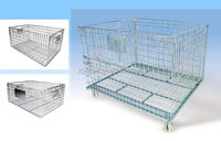 China Supplier Heavy Duty Metal Folding Storage Cage Wire Mesh Container for Warehouse