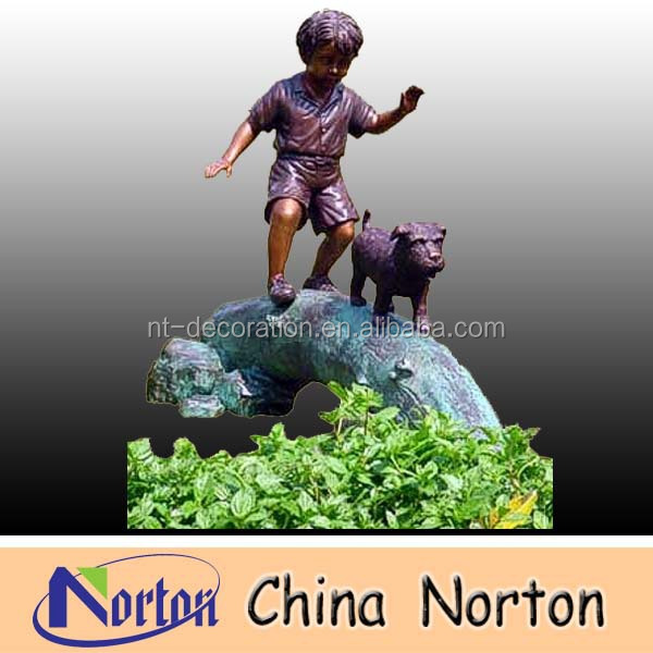 boy and dog playing bronze children sculpture NTBH-C065