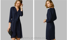 2015 casual v-neck mini fashion 3/4 sleeves women's sexy tight dress