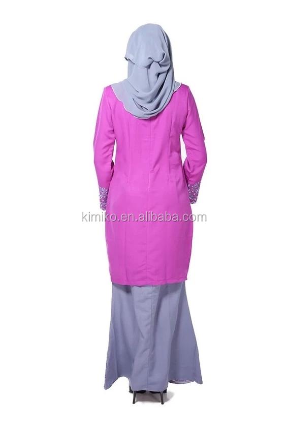 Oem muslim women long dress baju kurung modern embroidery