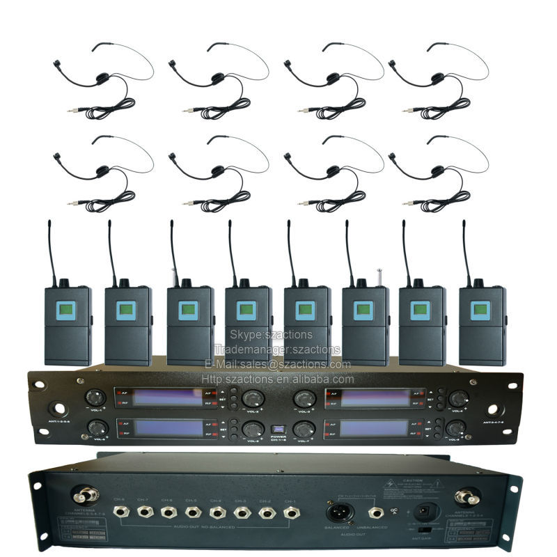 U-8008 Professional 8 Channels PLL UHF Wireless Microphone System with Bodypack Headset Microfones
