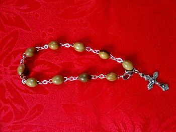 bethlehem hamd made Olive wood Rosary Bracelet made by sterling silver wire with metal crucifix