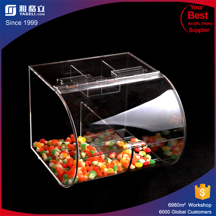 2016 Customized mini acrylic candy dispenser professional lucite candy boxes wholesale acrylic candy bins
