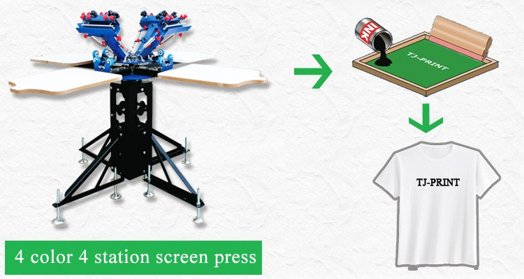 Manual 4 color 4 station carousel screen printing machine