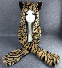 Leopard fur hood scarf hat animal ears warm hot scarf hat in one